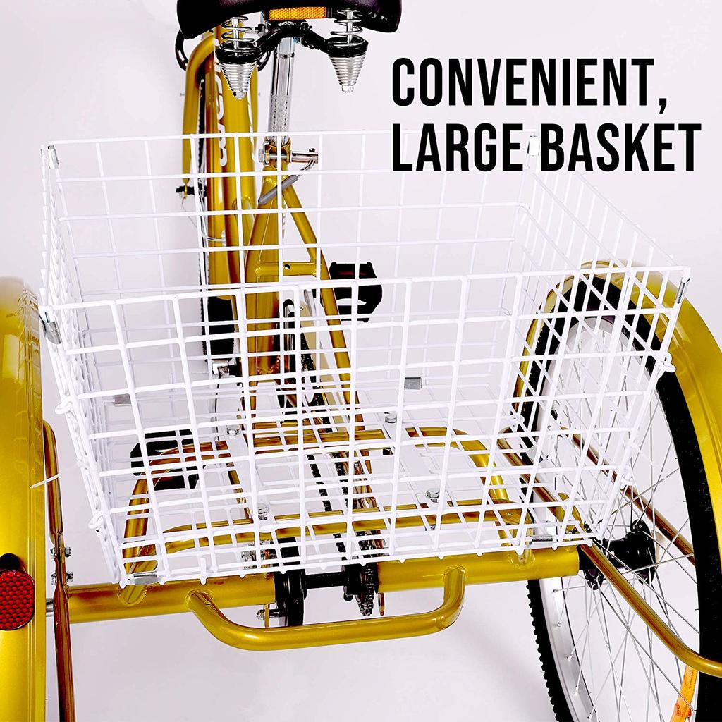 HIRAM 3-Wheeled Adult Tricycle large basket
