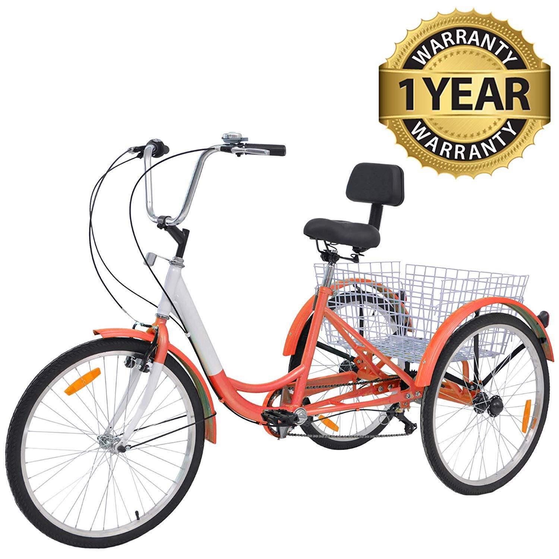 "26/""//24/""//20/"" 7 Speed Adult Trike Tricycle 3 Wheel Bike w//Basket for Shopping USA"