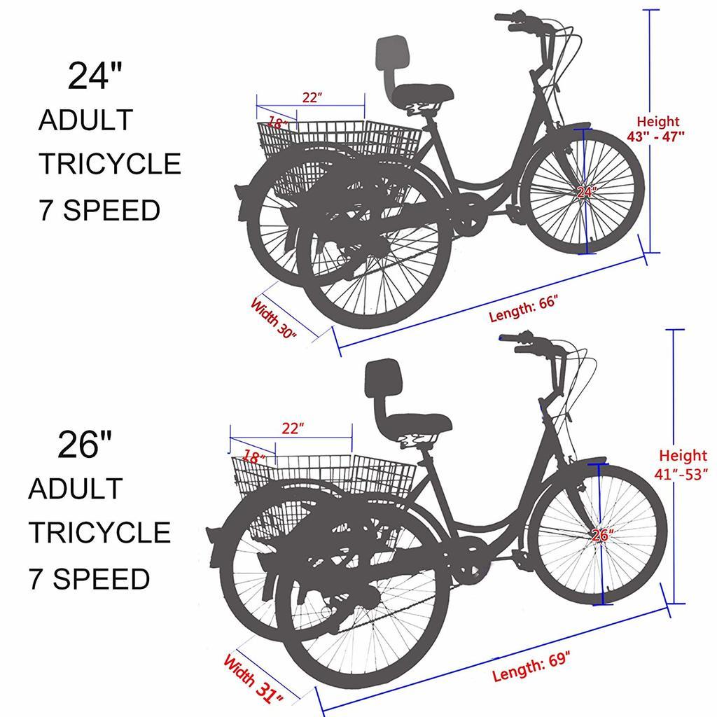 Slsy three Wheel Bike For Seniors dimensions